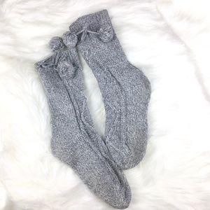 FREE ADD ON Cozy Pom Pom Grey Socks